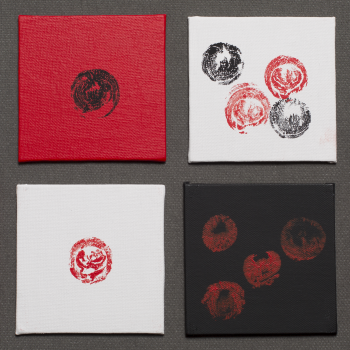 Four 4x4 Foreskin Paintings Displayed In A Not So Phallic Square Canvas Red Impressions B White BBRR
